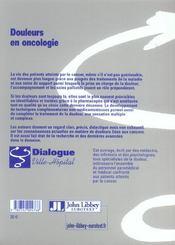 Douleurs En Oncologie - 4ème de couverture - Format classique