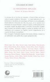 La philosophie déplacée ; autour de jacques rancière - 4ème de couverture - Format classique