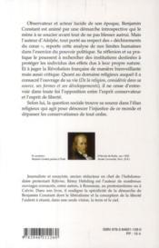 Benjamin Constant ; le libéralisme tourmenté - 4ème de couverture - Format classique