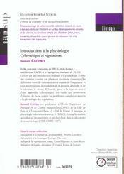 Introduction a la physiologie - cybernetique et regulations - 4ème de couverture - Format classique