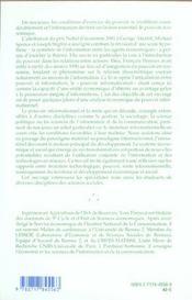 Pouvoir, Information, Economie - 4ème de couverture - Format classique