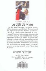 Le Defi De Vivre Condamnee Par La Medecine Elle Devient Championne Du Monde De Jet-Ski - 4ème de couverture - Format classique