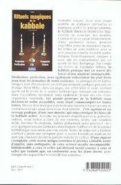 Rituels magiques de la kabbale - 4ème de couverture - Format classique