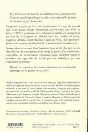 Mémoires de guerre juin 1917 - janvier 1919 - 4ème de couverture - Format classique