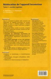 Rééducation de l'appareil locomoteur t.2 (2e édition) - 4ème de couverture - Format classique