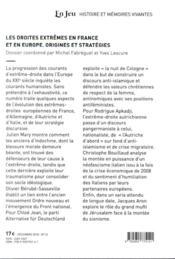 Les droites extrêmes en France en Europe et dans le monde aujourd'hui ; entre banalisation et normal - 4ème de couverture - Format classique