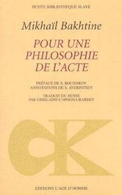 Pour une philosophie de l'acte - Intérieur - Format classique