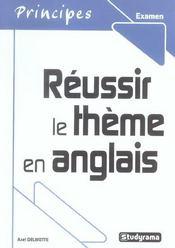 Réussir le thème en anglais - Intérieur - Format classique