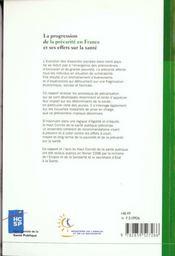 La Progression De La Precarite En France Et Ses Effets Sur La Sante - 4ème de couverture - Format classique