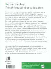 Reussir Sa Une, Presse Magazine Et Specialisee - 4ème de couverture - Format classique