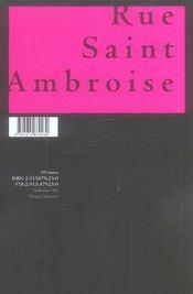 Rue saint ambroise - 4ème de couverture - Format classique