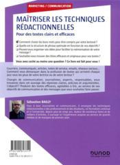 Maîtriser les techniques rédactionnelles ; pour des textes clairs et efficaces - 4ème de couverture - Format classique