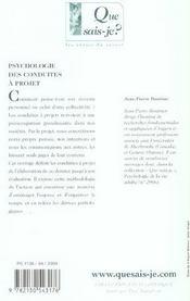 Psychologie des conduites a projet (4e ed) qsj 2770 (4e édition) - 4ème de couverture - Format classique