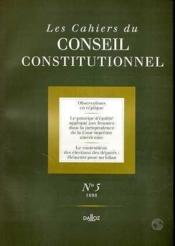 Les Cahiers Du Conseil Constitutionnel N.5 - Couverture - Format classique