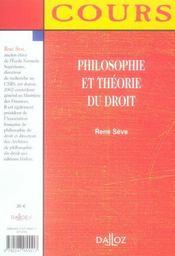Philosophie et théorie du droit - 4ème de couverture - Format classique