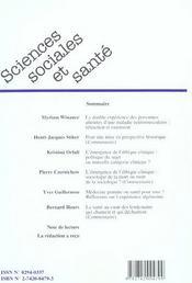 Revue Sciences Sociales Et Sante ; L'Expérience D'Une Maladie Neuromusculaire ; L'Emergence De L'Ethique Clinique ; L'Expérience Algérienne De Médecine Gratuite - 4ème de couverture - Format classique