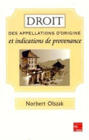 Droits des appellations d'origine et indications de provenance - Couverture - Format classique