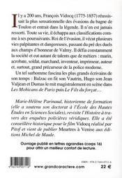 Vidocq - 4ème de couverture - Format classique