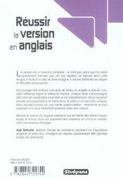 Réussir la version en anglais - 4ème de couverture - Format classique