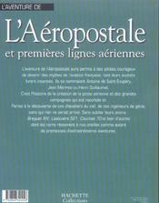 L'aventure de l'aeropostale et premieres lignes aeriennes - 4ème de couverture - Format classique