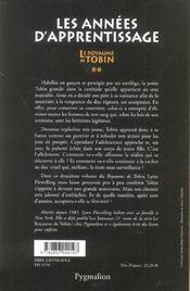 Le royaume de tobin t2 les annees d'apprentissage - 4ème de couverture - Format classique