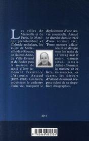 Vies et morts d'Antonin Artaud - 4ème de couverture - Format classique