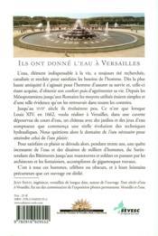 Ils ont donné de l'eau à Versailles - 4ème de couverture - Format classique