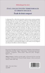 État, collectivités territorales et droits sociaux ; étude de droit comparé - 4ème de couverture - Format classique