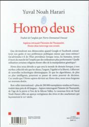 Homo deus ; une brève histoire du futur - 4ème de couverture - Format classique