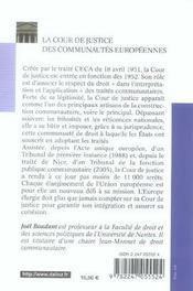 La cour de justice des communautés européennes (1re édition) - 4ème de couverture - Format classique