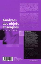 Analyses des objets enseignés ; le cas du français - 4ème de couverture - Format classique