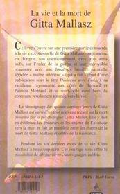 La vie et la mort de gitta mallasz - 4ème de couverture - Format classique