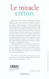 Le miracle cretois - 4ème de couverture - Format classique