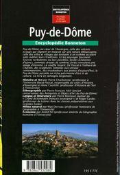 Encyclopedies Regionales ; Puy-De-Dôme ; Au Coeur Des Volcans D'Auvergne - 4ème de couverture - Format classique