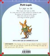 Petit lapin : le pipi au lit - 4ème de couverture - Format classique