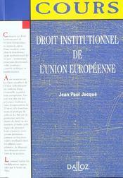 Droit Institutionnel De L'Union Europeenne ; 1e Edition - Intérieur - Format classique