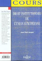 Droit Institutionnel De L'Union Europeenne ; 1e Edition - 4ème de couverture - Format classique