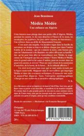 Médéa Médée, une enfance en Algérie - 4ème de couverture - Format classique