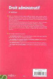 Aide-mémoire ; droit administratif (6e édition) - 4ème de couverture - Format classique