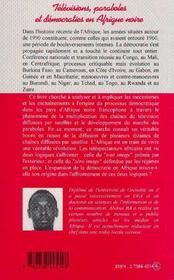 Televisions, Paraboles Et Democraties En Afrique Noire - 4ème de couverture - Format classique