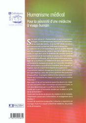 L'humanisme medical pour la perennite d'une medecine a visage humain - 4ème de couverture - Format classique