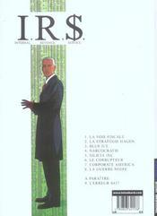 I.R.$ t.8 ; la guerre noire - 4ème de couverture - Format classique