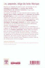 Lire, comprendre, rediger textes theorique - 4ème de couverture - Format classique