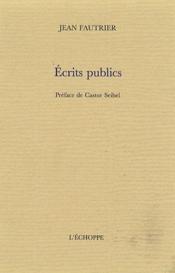 Écrits publics - Couverture - Format classique