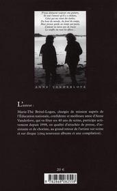 Anne Vanderlove, mélancolitude - 4ème de couverture - Format classique