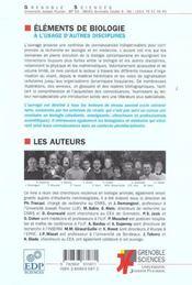 Éléments de biologie à l'usage d'autres disciplines ; de la structure à la fonction - 4ème de couverture - Format classique