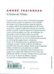 L'arene de nimes - 4ème de couverture - Format classique