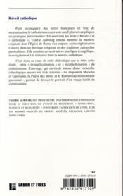 Réveil catholique ; emprunts évangéliques au sein du catholicisme - 4ème de couverture - Format classique
