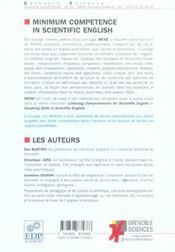 Minimum competence in scientifc english ned 2005 - 4ème de couverture - Format classique