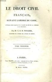 Le Droit Civil Francais, Suivant L'Ordre Du Code Tome Xiii - Couverture - Format classique